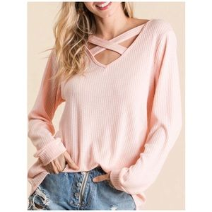 Peach Criss Cross Top - New!